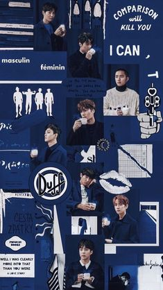 Our exo is the bestt K Wallpaper, Trendy Wallpaper, Blue Wallpapers, Wallpaper Iphone Cute, Korea Wallpaper, Galaxy Wallpaper, Kpop Exo, Exo Chanyeol, Dark Tumblr