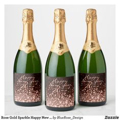 Rose Gold Sparkle Happy New Year Champagne Label Champagne Label, Champagne Bottles, Personalized Wine Labels, Gold Sparkle, Party Items, New Years Party, Bottle Labels, Happy New Year, Keep It Cleaner