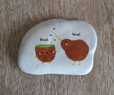 Kiwi Love [Created: February 14, 2021]   Inspired by Maria Tatiana's design on picsart.com, this is 1 of 3 Kiwi rocks created for Bird Of The Year 2021 February 14, Rock Painting, Kiwi, Picsart, Painted Rocks, Inspired, Create, Inspiration, Collection