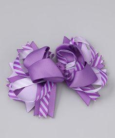 Look at this #zulilyfind! Purple Stripe Princess Bow Clip #zulilyfinds