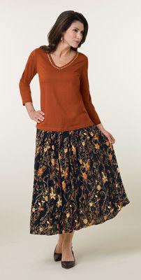 Autumn Floral V Neck Top And Drawstring Skirt Set