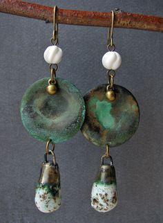 Verdigris Discs with Ceramic Dangles Earrings OOAK by expostfacto, $30.00