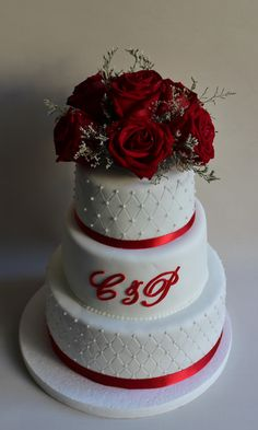 Wedding Cake Red Rose by Violeta Glace