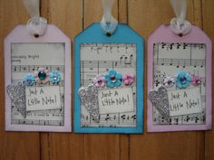 SALE+SALE+SALE+Just+A+Little+Note+Vintage+Sheet+Music+and+Silver+Glitter+Hearts+Mini+Collage+Handmade+Gift+Tags