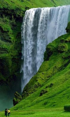 The Skogafoss Waterfall – A beautiful waterfall located in south of Iceland. The waterfall is rivals the Famous Gullfoss Waterfall of Iceland. The Skógafoss Wat Places Around The World, Oh The Places You'll Go, Places To Travel, Places To Visit, Holiday Destinations, Travel Destinations, Iceland Waterfalls, Iguazu Waterfalls, Adventure Holiday