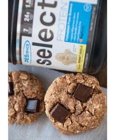 |HEALTHY OATMEAL CHOCOLATE CHUNK COOKIES| (high-protein, low-carb, low-fat)  Serving Size: 1 cookie (97 cals, 4g F, 11g C, 5g P) INGREDIENTS: 1/2 c old fashion oats, 1/4 c coconut flour,  1/4 c whole wheat flour, 1/4 c powdered peanut butter, 1/2 scoop PEScience Gourmet Vanilla Select Protein powder, 2 tbsp. coconut sugar, 1/4 c sugar-free maple syrup or sticky syrup of choice, 1 tbsp. coconut oil, melted  CLICK PHOTO FOR FULL RECIPE