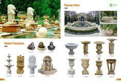 Product Catalogue, Flower Pots, Flowers, Black Granite, Quartz Countertops, Building Materials, White Marble, Fountain, Water