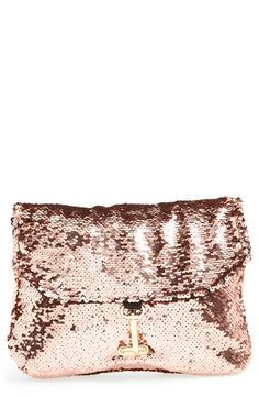 Rose gold sequin clutch. Perfect for a fun night out!