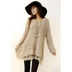 Sweet Women's Fleece Dress With Lace Hem Long Sleeves Design