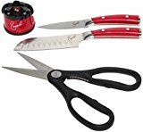 #9: Emeril 2 Piece Forged Cutlery Chef Set with Sharpener 3.5 Paring Knife 5 Santoku Knife:Red  Black Shears