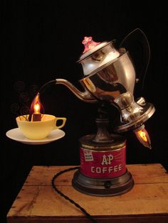 Upcycled Vintage Coffee Percolator Lamp