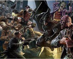 Variant cover art by @leebermejoart for All Star Batman comic #Batman #Robin #thejoker #twoface #thepenguin #killerCroc #scarecrow