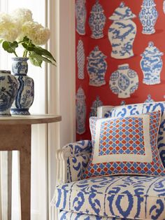 Chair Diane Gibson Madagascar Cobalt Pillow: Lester Lanin-Persimmon Blue with Mian-White piping and accent