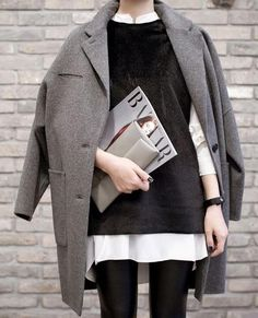Winter Outfit Inspiration: Oversized gray coat, work with layered black sweater