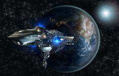 Spaceship fleet leaving Earth as a concept for futuristic interstellar deep space travel for sci-fi backgrounds. Elements of this image furnished by NASA. Black Knight Satellite, Cosmos, Space Documentaries, Mars, Sci Fi Background, La Colonisation, Revolution, Warp Drive, Android
