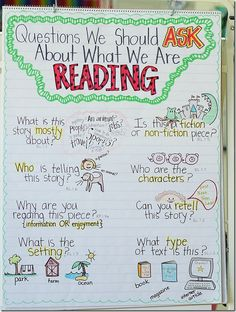 "Questions to ask about what we are reading....should add some critical literacy questions also  Absolutely should add the critical thinking questions.  Especially if schools use Accelerated Reader programs, students tend to have lots of books they have ""read"" but not a lot they can analyze or evaluate.  this really hurts them in high school lit classes."