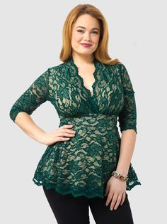 Linden Lace Top In Green The texture, neck-line, length and empire waist make this top an ideal selection for the apple-shaped woman.