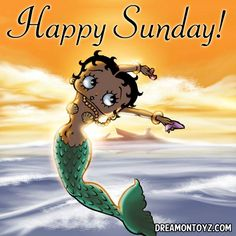 Happy Sunday!  ❤ More Betty Boop graphics & greetings ➡ http://bettybooppicturesarchive.blogspot.com/  ~And on Facebook~ https://www.facebook.com/bettybooppictures Mermaid #BettyBoop jumping up out of the ocean