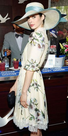 Krysten Ritter wearing Christine A Moore Millinery as the spokeswoman for Grey Goose at the 2013 Kentucky Derby