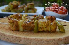 Receta de Brochetas de pollo con especias y miel