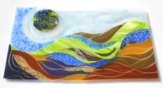 'Layered Life' was created for a family in New York, that has an appreciation of nature and also has complicated lives (don't we all!) The art reflects the layers of relationships and work, blended to be a geologic statement. #fusedglass #glassart #fusedglassartist #glass #art