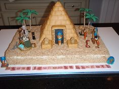 Egyption Cake  This is what my son wants for his Birthday Cake!!-- for school use boxes etc to build this scene
