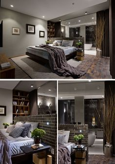 In this modern master bedroom, the bed sits against a dark brick pony wall that separates the sleeping area from the bathroom. #MasterBedroom #BedroomDesign