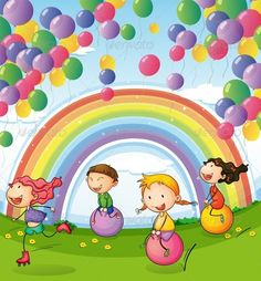 Buy Kids with Balloons and Rainbows by interactimages on GraphicRiver. Illustration of the kids playing with floating balloons and rainbow in the sky Safari Decorations, School Decorations, Drawing For Kids, Art For Kids, Certificate Background, Floating Balloons, Activity Room, School Painting, Rainbow Sky