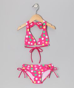 Look at this Kanu Surf Pink Polka Dot Nice Bikini - Girls on #zulily today!