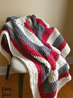 The Snow Berries Throw is wintry, lofty, and so super comfy! Crocheted in a modern stripy square, the color possibilities are endless. Great for those chilly winter nights and looks great draped over a favorite sofa or chair too!