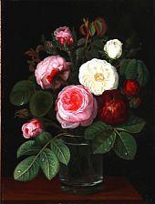 I. L. Jensen, School, 19th century: Still life with roses in a vase. Signed V. L. Oil on panel. 32 x 24 cm.