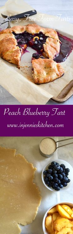 Juicy peaches and sweet blueberries get wrapped in a buttery pastry crust to make this easy summer dessert. No pie crust crimping required for these free form tarts. Get the recipe for these Peach Blueberry Tarts at In Jennie's Kitchen. #SummerSoiree