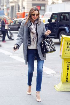 I love Miranda Kerr's effortlessly chic street style. I imagine her casually tossing this on to run errands in NYC or to catch a movie with friends.