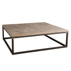 """Parquet-Top Coffee Table $1000 Dimensions: 50""""sq. x 17""""h  Natural wood finish. Rustic finish on iron frame Mango wood  WISTERIA --- TERRIBLE REVIEWS!!!!!! Stains easily, no sealant, rough wood"""