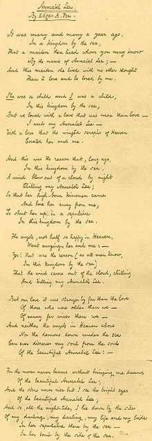 Annabel Lee - Wikipedia, the free encyclopedia