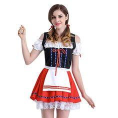 Ansenesna Damen Oktoberfest Kostüm Bayerisches Bier Elegant Mädchen  Knielang A Linie Vintage Ärmeln Regular Fit Für 8978bba843