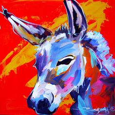 a cute donkey painting 12x12