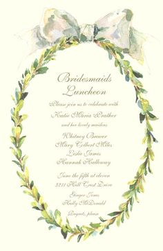 Odd Balls Invitations - BOXWOOD WREATH... love these for Bridal Luncheon, Rehearsal Dinner or even a Baby Shower