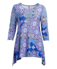 Loving this Blue Arabesque Sidetail Tunic - Plus on #zulily! #zulilyfinds