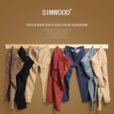Buy Simwood Brand Spring Winter New Fashion 2018 Slim Straight Men Casual  Pants Pure Cotton Man Trousers Plus Size 9d7dce2880