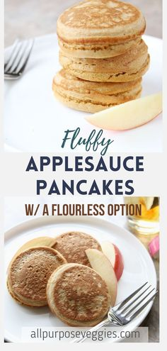 These extra thick pancakes are easy to prepare, fluffy, sweet and moist, all thanks to the secret ingredient, applesauce! here's one of my favorite easy, healthy breakfast pancake recipes that is homemade, made of applesauce and whole wheat flour. It's also an easy breakfast idea that is diy and high in fiber! #easybreakfast #healthybreakfast #applesauce #wholewheat Healthy Breakfast Options, Egg Recipes For Breakfast, Quick And Easy Breakfast, Breakfast Smoothies, Pancake Recipes, Baking Recipes, Healthy Breakfasts, Breakfast Ideas, Applesauce Pancakes