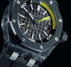 """""""Whats your watch made out of? Forged Carbon of course."""" Just one of the benefits of having the new Audemars Piguet Royal Oak Offshore Diver Watch. Read More Here: http://mywat.ch/royaloak"""