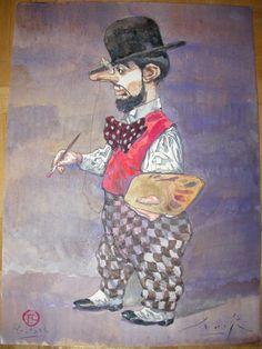 Smudja, Gradimir - Originele tekening in kleur - Het Kunstbordeel / Le Bordel des Muses - Toulouse Lautrec - W.B.
