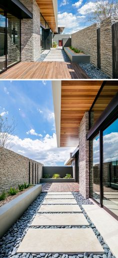 A simple path of pavers and pebbles that leads from the garage to the front door, is hidden behind a stone wall, and a raised planter adds a touch of nature.