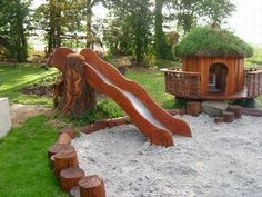 GORGEOUS playground! This here, really is a call for me to learn how to build with wood. #backyardlandscapediyhowtobuild #buildachildrensplayhouse