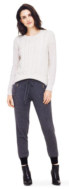 Cable Cashmere Sweater + Sweatpants