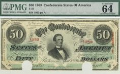 Here is a high quality $50 confederate. High grade notes like this are as valuable today as they have ever been, and that trend does not appear to be slowing at all.