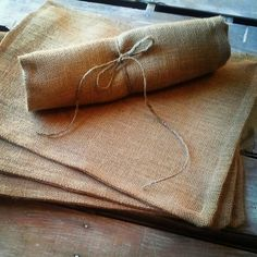 Set of 4- Natural Burlap Placemats-Double Sided/Reversible- 4 Colors Available-  $25 Rustic/Country/Folk Decor