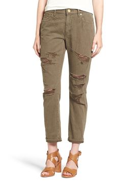 'Audrey' Ripped Slim Boyfriend Jeans (Olive Drab Destroy) by True Religion on @nordstrom_rack
