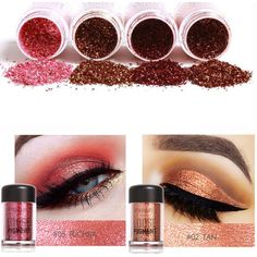 FOCALLURE Eye Shadow Shimmer Metallic Pigment Powder Eyeshadow Eyes... ❤ liked on Polyvore featuring beauty products, makeup, eye makeup and eyeshadow
